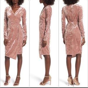 NWT Leith Velour Wrap Dress Pink Mauve L Tie